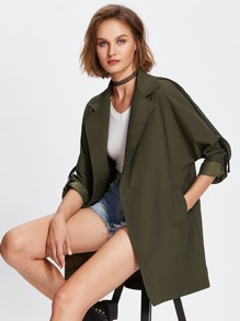 Notch Collar Rolled Sleeve Coat