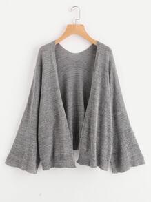 Bell Sleeve Heather Knit Cardigan