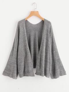 Bell Sleeve Heather Knit Cardigan