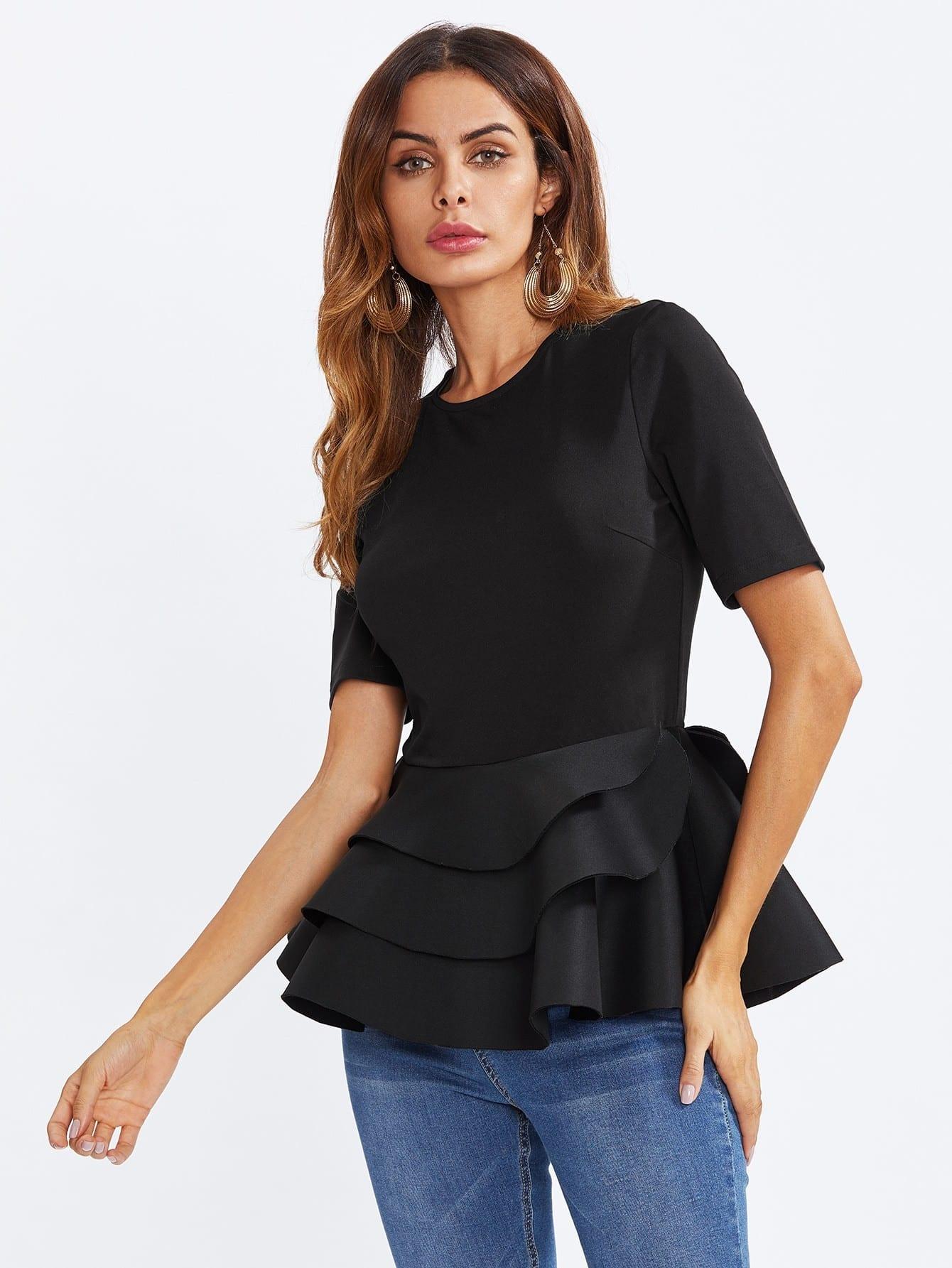 Tiered Ruffle Hem Peplum Blouse lace insert tiered ruffle hem blouse