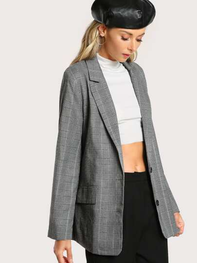 Notch Collar Plaid Blazer