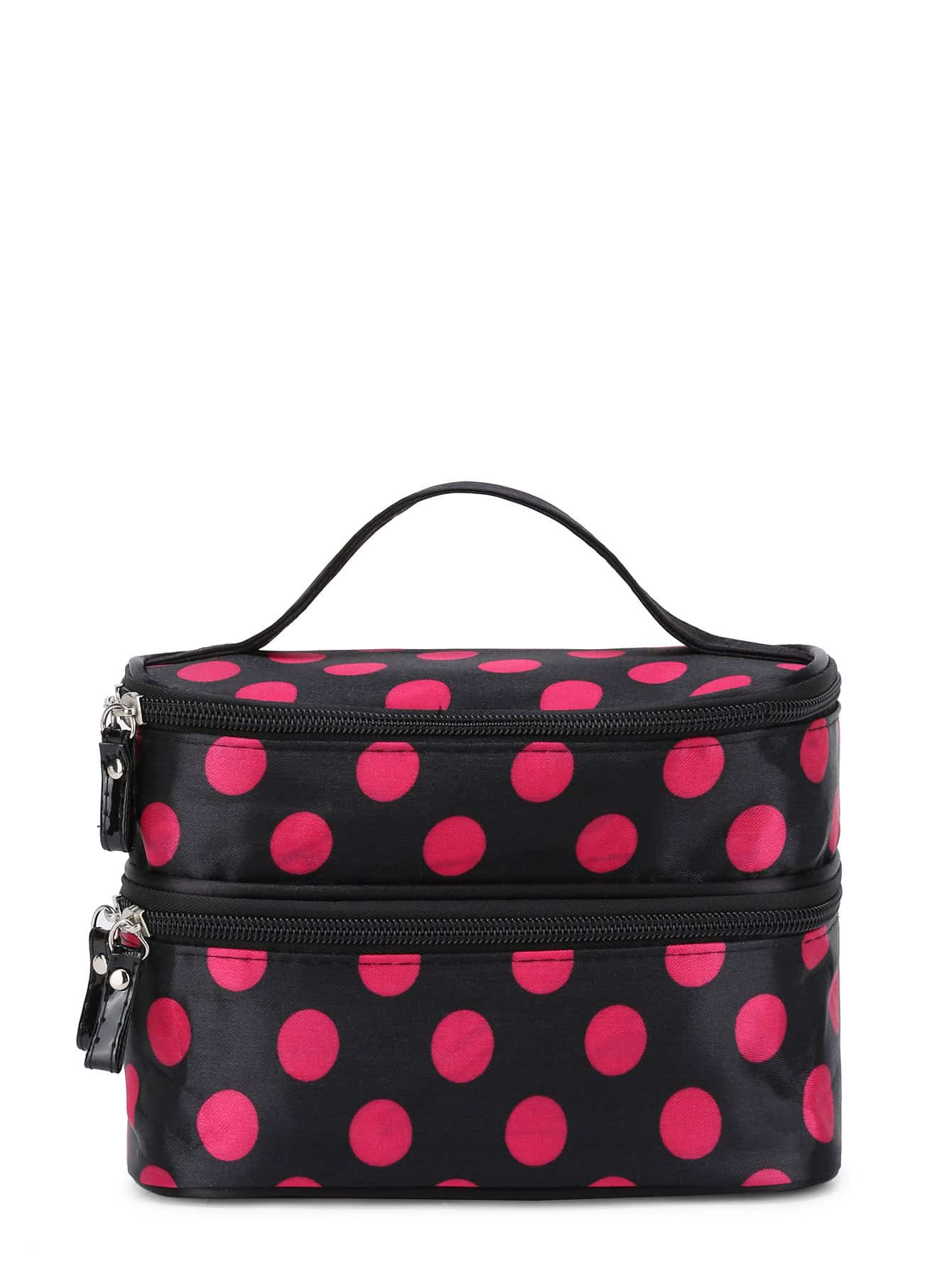 Polka Dot Double Layers Cosmetic Bag transer jasmine polka dot flip double zipper cosmetic bag 0213 drop shipping