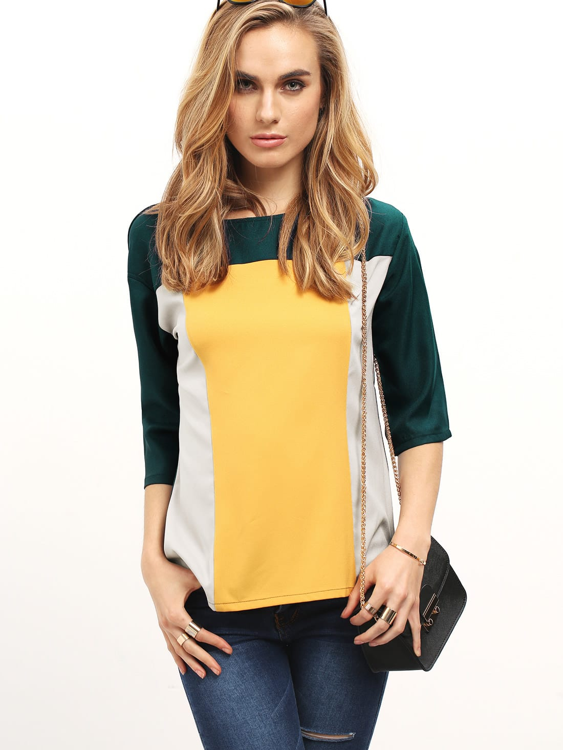 Color Block Elbow Sleeve Top wide sleeve color block floral top
