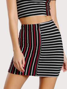 Zip Front Mixed Stripe Skirt