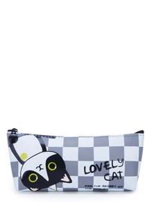 Slogan & Cat Print Checker Pouch