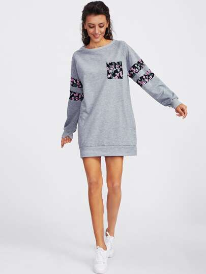 Contrast Panel Raglan Sleeve Marled Sweatshirt Dress