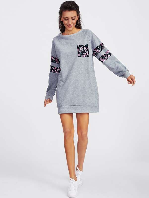 Contrast Panel Raglan Sleeve Marled Sweatshirt Dress by Sheinside