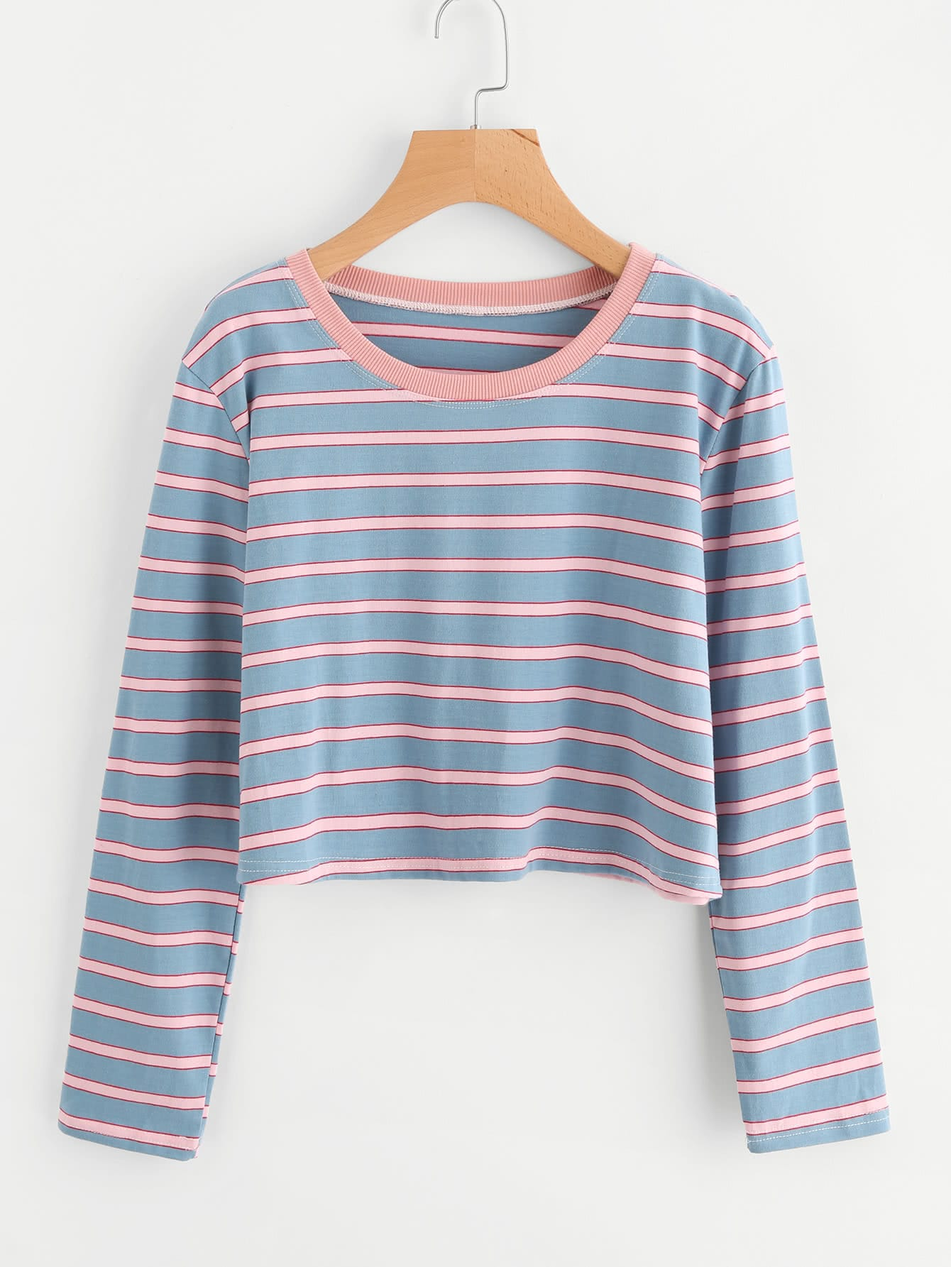 5765a693cefa Contrast Neck Pizza Print Striped T-shirt - Latest Fashion & In ...