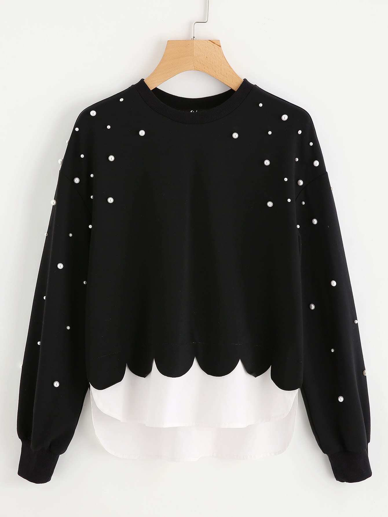 Contrast Hem Pearl Beading Scalloped 2 In 1 Sweatshirt pearl beading frill detail sweatshirt