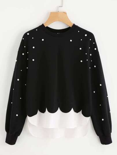 Contrast Hem Pearl Beading Scalloped 2 In 1 Sweatshirt