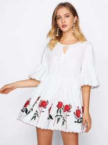 Keyhole Tie Neck Scalloped Embroidered Dress