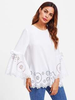Bow Detail Fluted Sleeve Laser Cut Scalloped Blouse