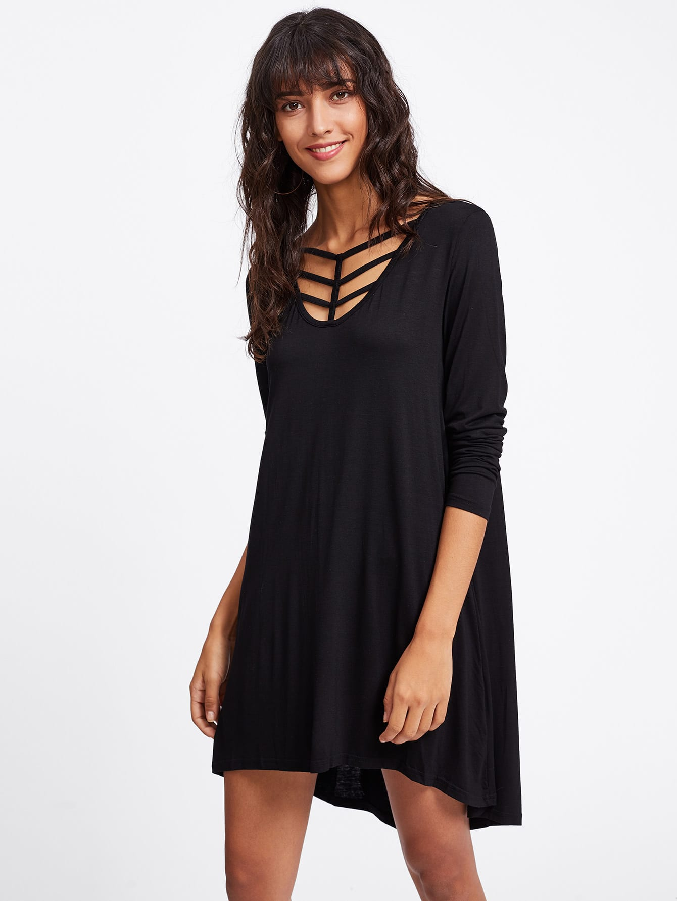 Cage Detail Dip Hem Tee Dress dip hem tee dress