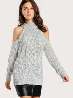 Cold Shoulder Knitted Sweater OFF WHITE