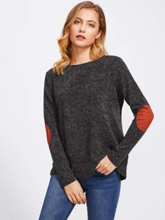 Elbow Patch Marled Knit Top