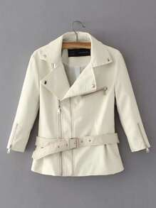 Zipper PU Jacket With Belt