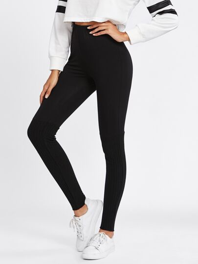 Cut And Sew Rib Knit Leggings