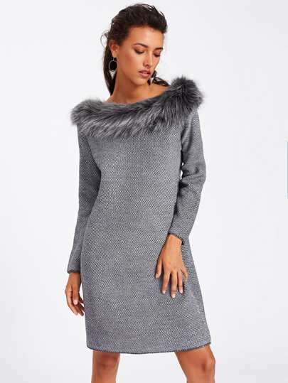 Faux Fur Neck Textured Sweater Dress