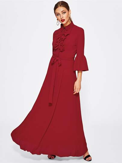 Frilled Placket Fluted Sleeve Belted Hijab Long Dress