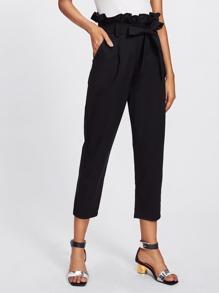 Pantalones capri con lazo de cintura fruncido