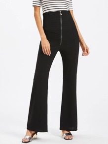 Zipper Front High Waist Flare Pants