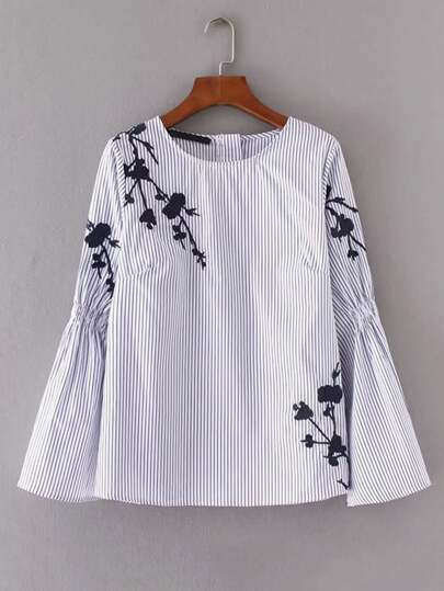 Embroidery Flower Shirred Detail Striped Blouse