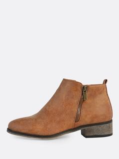 Faux Leather Round Toe Zip Up Boots CHESTNUT