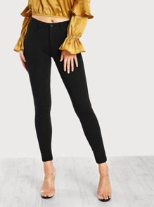 Mid Rise Stretch Pants BLACK