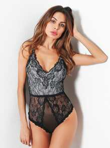 Floral Lace & Mesh Teddy