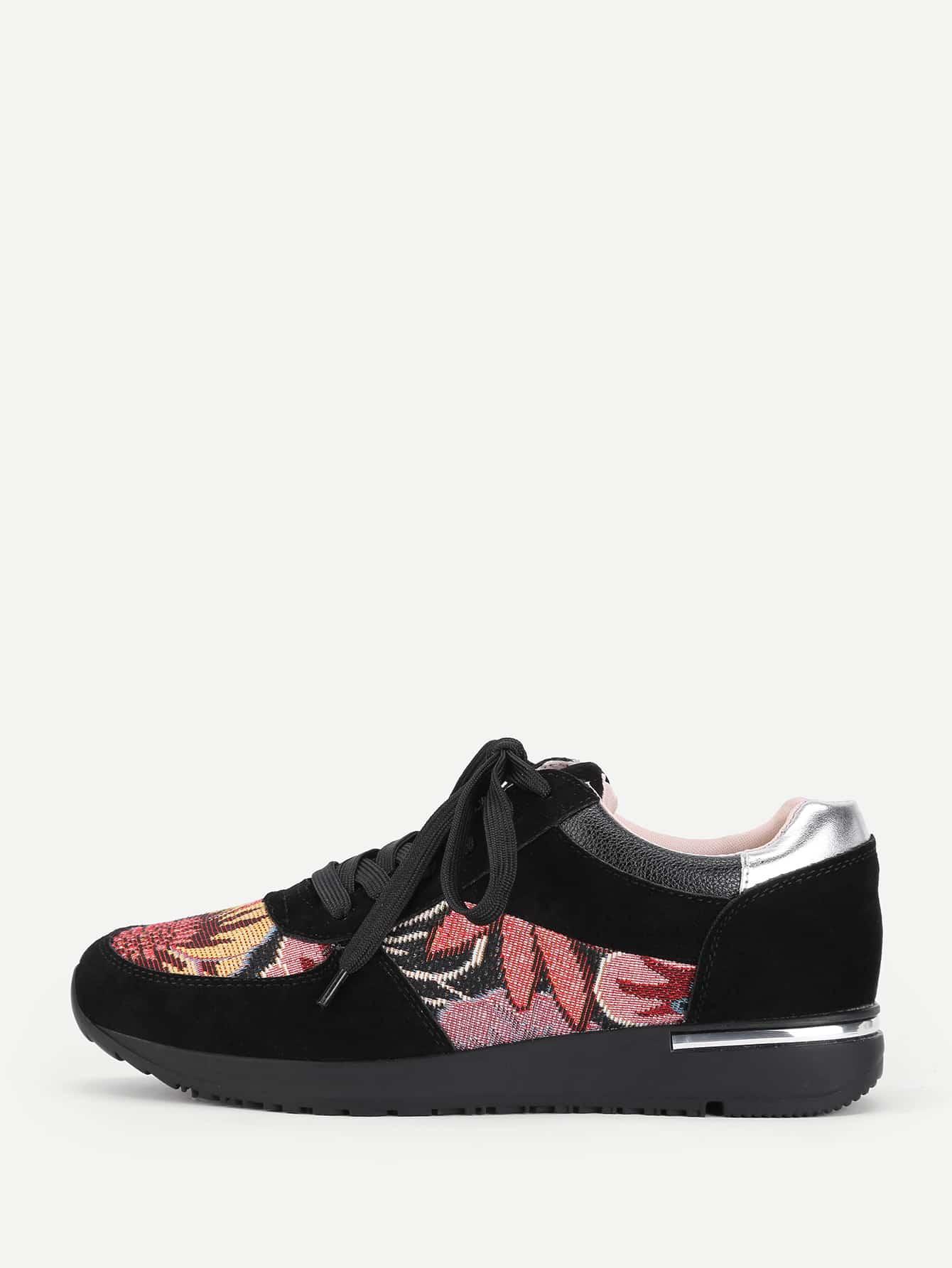 Купить со скидкой Flower Pattern Lace Up Trainers
