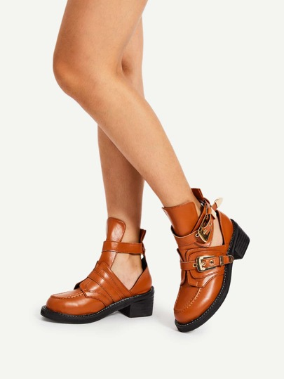 Double Buckle PU Block Heeled Boots