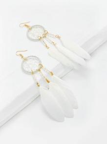Модные серьги-подвески в форме пера