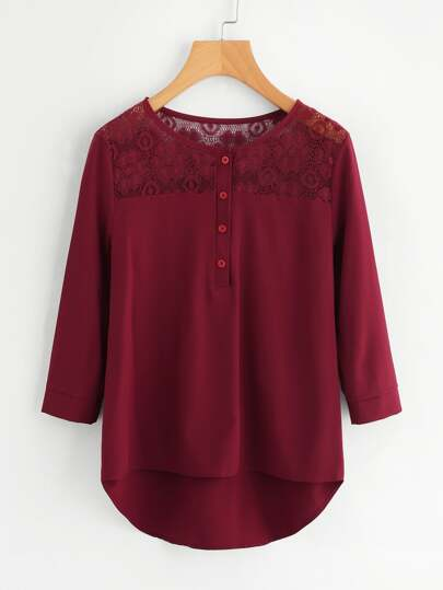 Flower Lace Panel Dip Hem Blouse