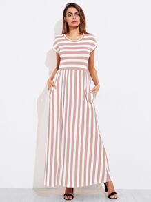 Contrast Striped Full Length Dress