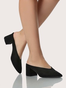 Point Toe Slip On Heels BLACK