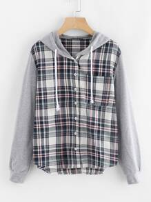 Check Blouse With Jersey Hood And Sleeve