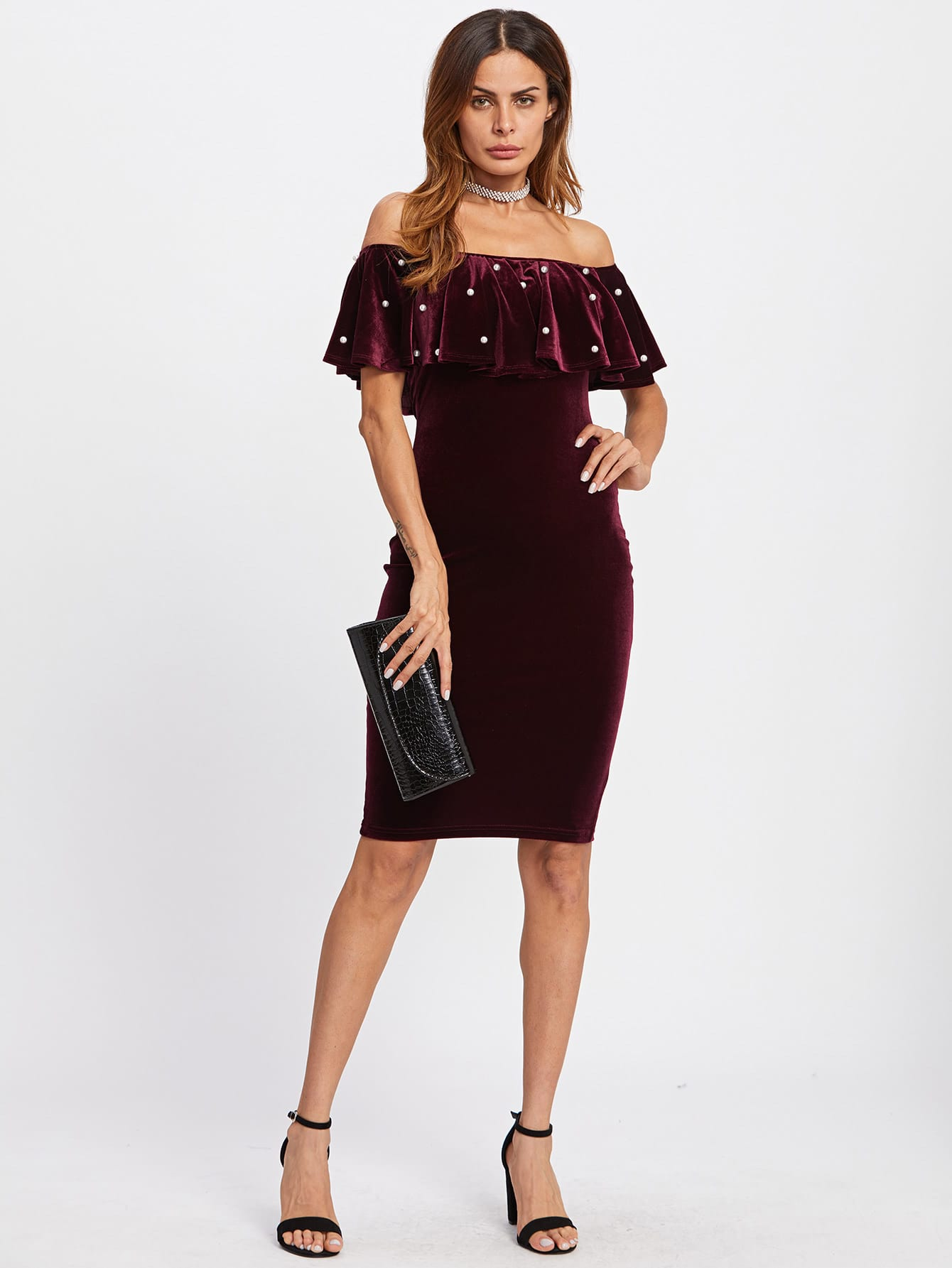 Pearl Detail Frill Off Shoulder Dress frill layered pearl detail sweatshirt dress