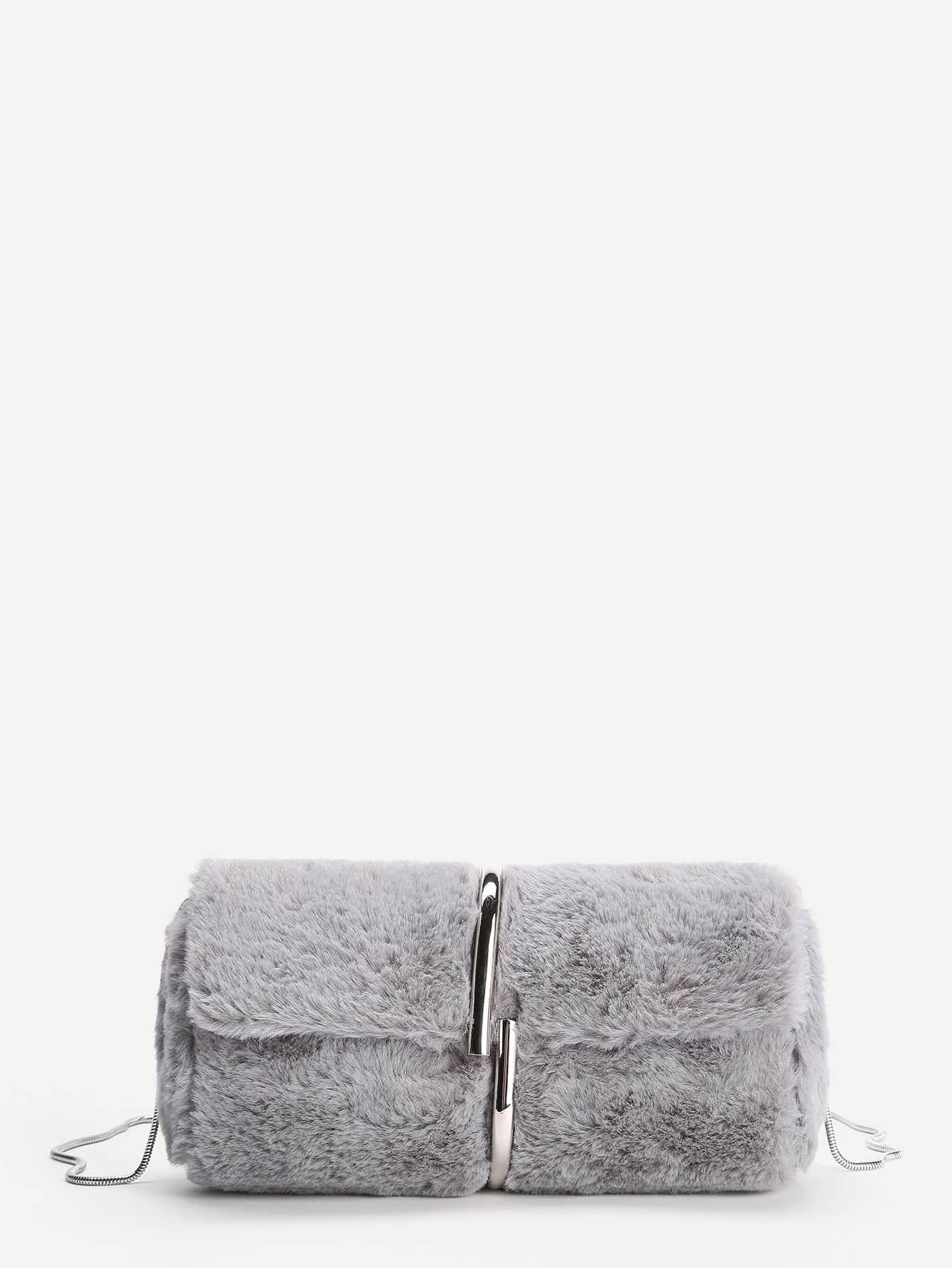 Faux Fur Chain Crossbody Bag
