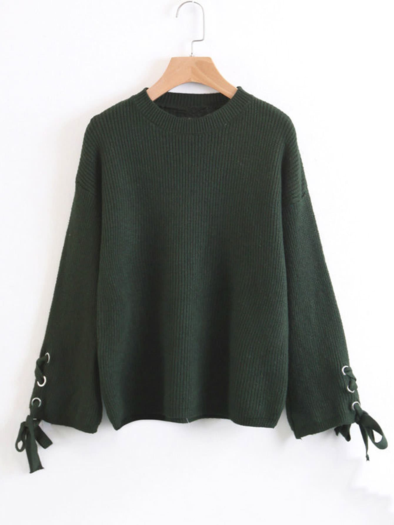 Lace Up Cuff Ribbed Knit Sweater sweater170920204