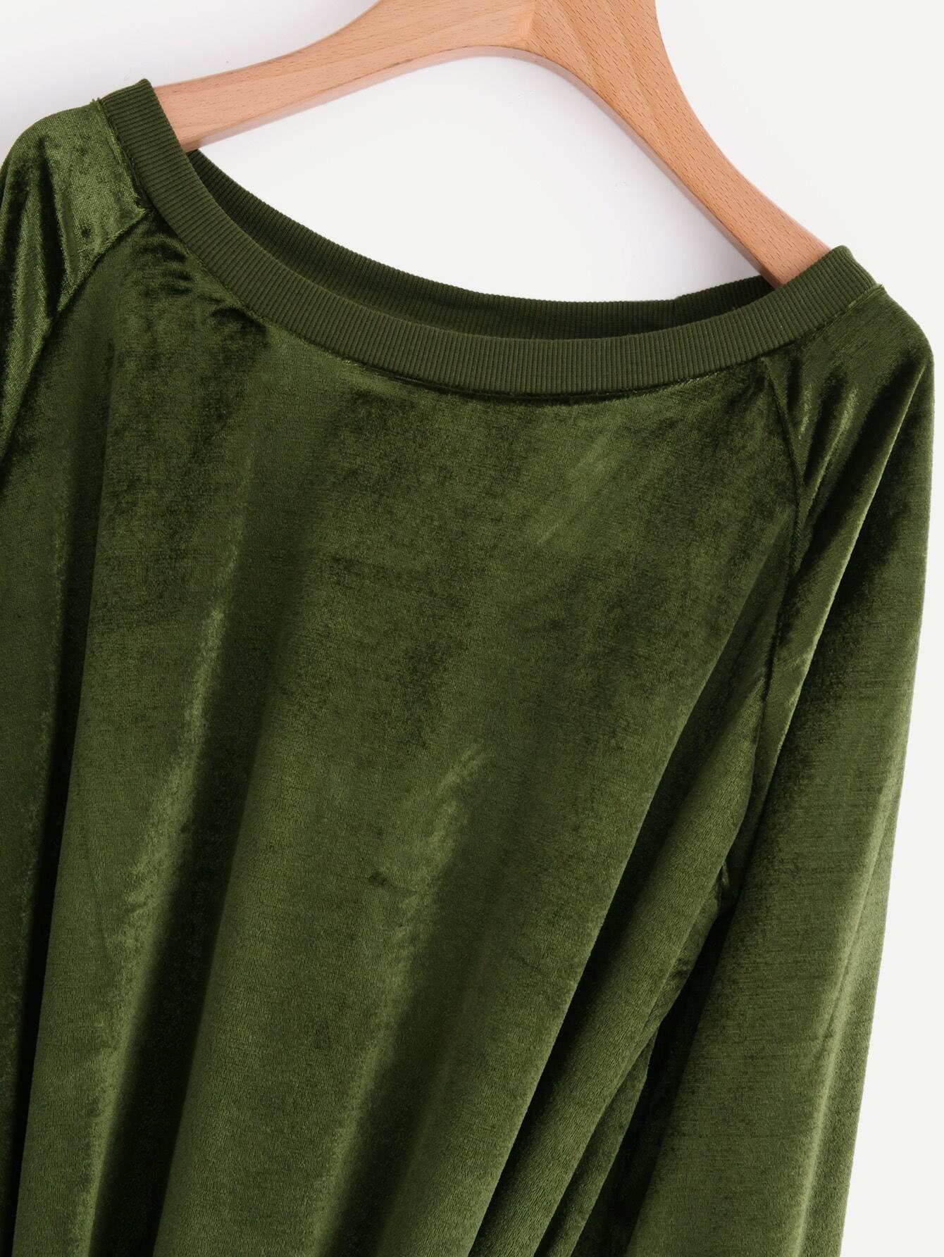 Knot Front Raglan Sleeve Velvet Sweatshirt