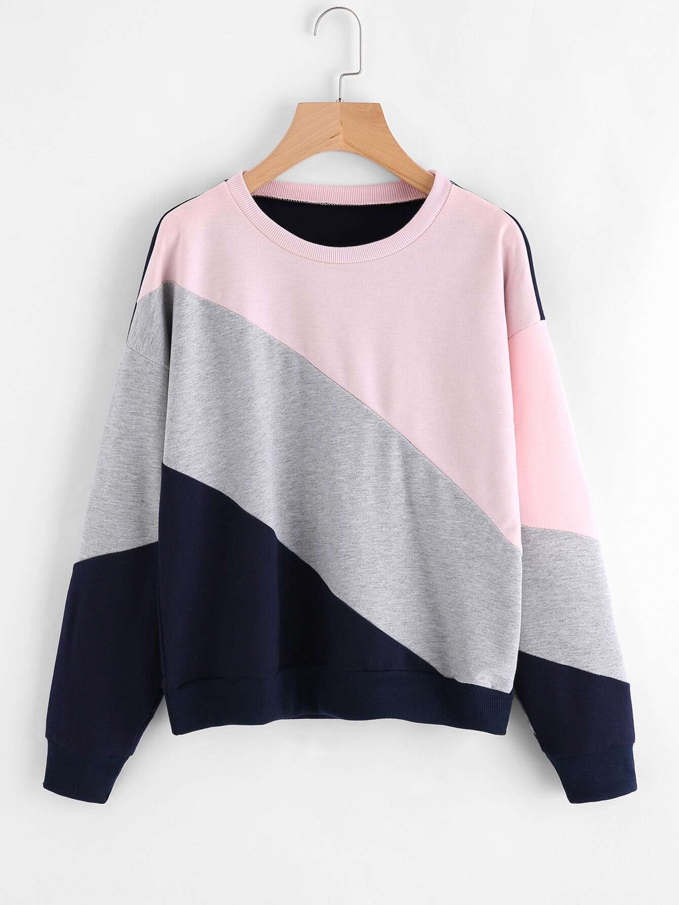 Cut And Sew Color Block Sweatshirt color block cut and sew hoodie
