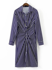 Twist Front Striped Shirt Dress