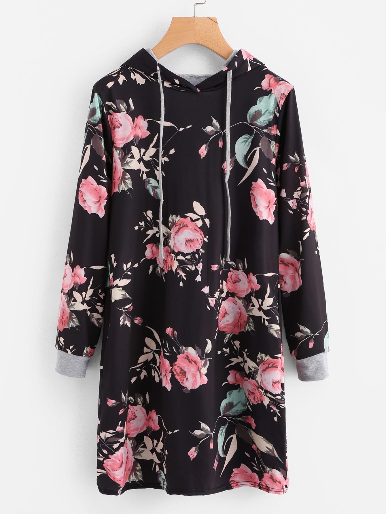 Hooded Floral Print Sweatshirt Dress hooded letter print asymmetric sweatshirt dress