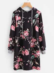 Hooded Floral Print Sweatshirt Dress