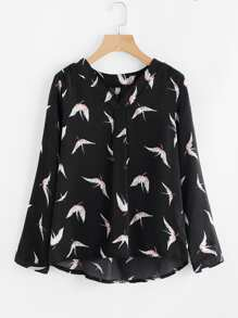 Blusa con patrón sin costura escote V
