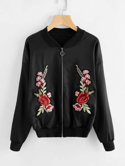 Floral Embroidered Applique Zip Up Jacket
