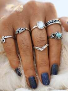 Turquoise Detail Multi Shaped Ring Set 6pcs