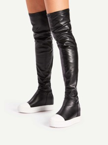 Two Tone Hidden Faux Leather Wedge Boots