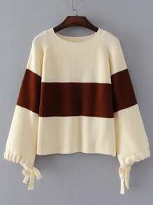 Block Striped Raglan Sleeve Sweater