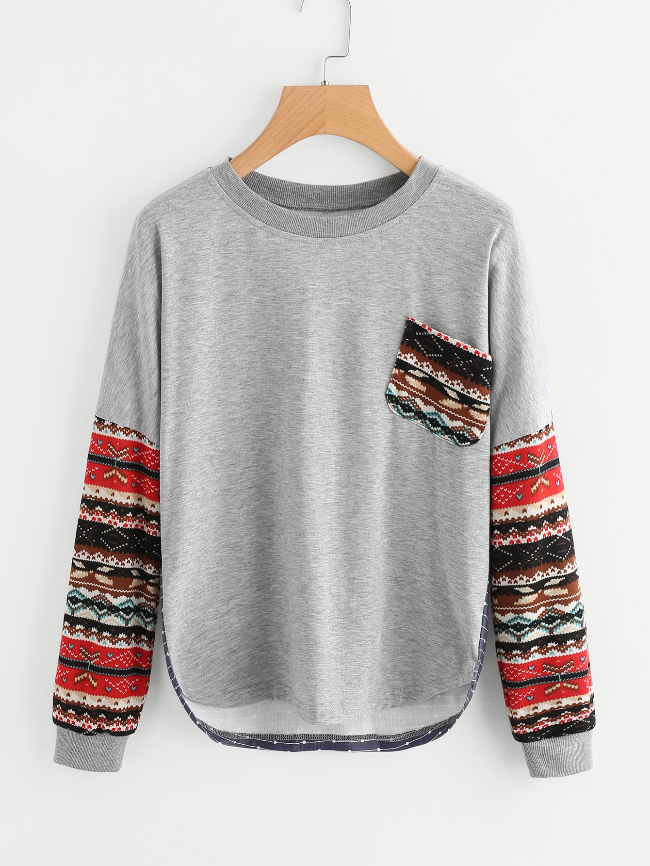 Contrast Drop Shoulder Tribal Sleeve Tee lace contrast back drop shoulder shirt